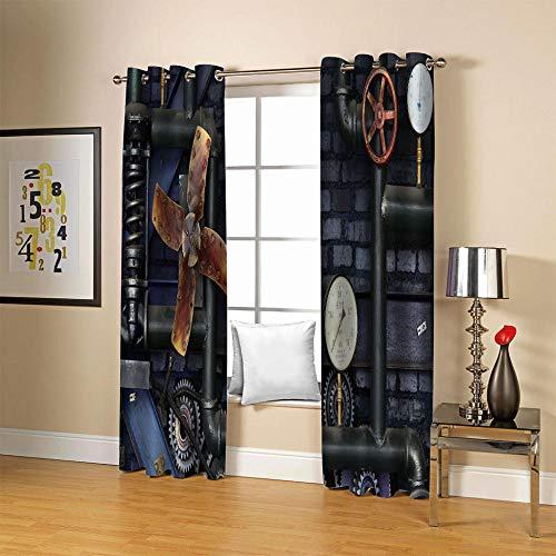 MCYGSD Cortinas Dormitorio Moderno Cortina Térmica Opaca con Ollaos, 3D Impresión Digital, Pipa Industrial Retro de Feng Shui - 140 x 100 cm - para habitación o salón Habitacion Infantil Venta