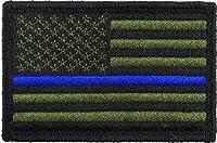USA American Thin Blue Line 警察旗 タクティカルフックとループ 刺繍入り モラールタグパッチ 2 x 3 American Flag BW