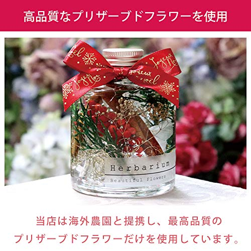 プリザーブドフラワーIPFAハーバリウム[クリスマスモデルギフト]花/プレゼント/瓶/フラワリウム(レッドリボン)