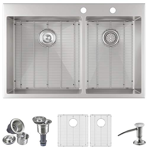 """MOWA HTD33DO Upgraded Mounting Clips Handmade 33"""" 16 Gauge Stainless Steel Topmount 60/40 Double Bowl Kitchen Sink"""