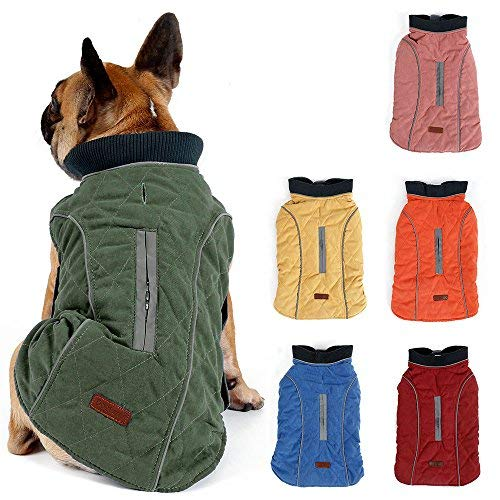TFENG Reflektierend Hundejacke für Hunde, Hundemantel Warm gepolstert Puffer Weste Welpen Regenmantel mit Fleece (Grün, Größe M)