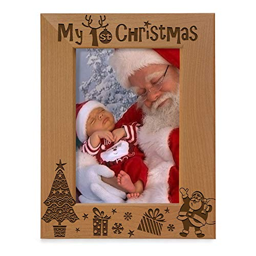 KATE POSH My 1st Christmas Picture Frame, My First, Baby's 1st Christmas, New Baby, Santa & Me Engraved Natural Wood Photo Frame (5x7-Vertical - Classic)
