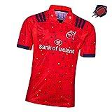 Maillot de rugby 2019 de Munster City pour adulte Homme, Jeunesse américain fan de football T-shirt de sport de plein air Fitness à manches courtes vêtements de sport L Rouge