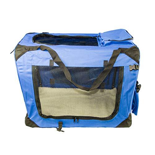 ACMax Hundetransportbox Transportbox Reisetasche Transporttasche Größe M Hundebox blau