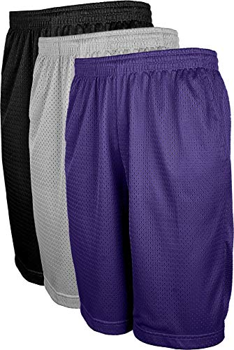 OLLIE ARNES Mesh Basketball Shorts for Men, Athletic Gym Workout Short with Pockets (S-6X) SET3_BLK_HGR_PUR 4XL