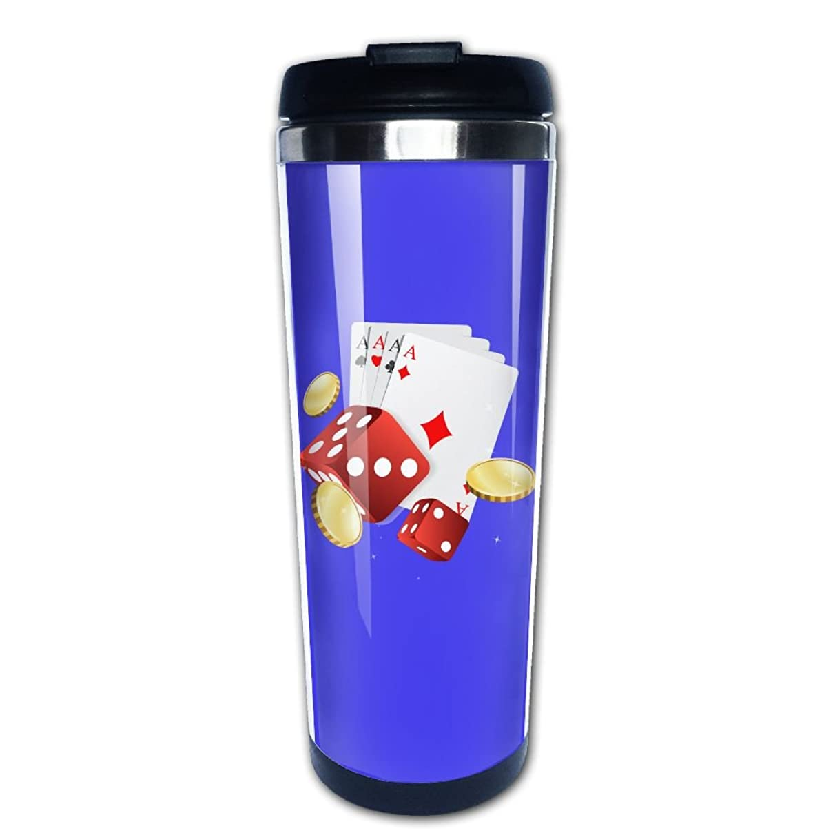 Lojaon Coffee Cup Tumbler Mug 304 Stainless Steel Liner,Poker With Dice Fashion Office Mug 400 Ml Water Bottles Portable Thermos Vacuum Flask
