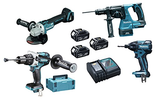 Makita DLX4050TJ Pack de 4 Machines avec 3 batteries en 2 coffrets Makpac 18 V 5 Ah