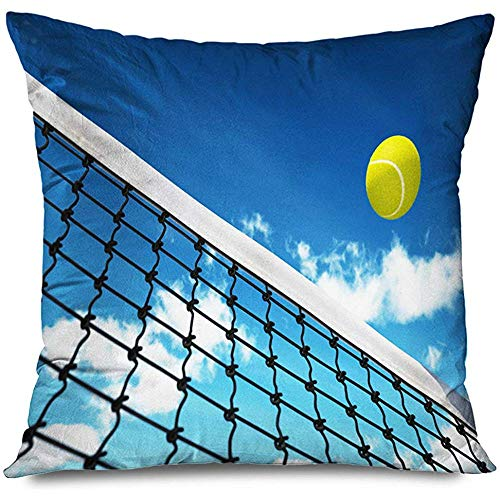 Aoyutiy Decoratieve kussensloop Tennis Midair Action Ball vliegen over Net Sky Sport Sport Recreation Texturen Makro ritssluiting kussensloop