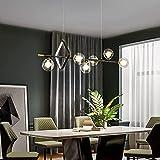 YAMMY Candelabro Negro de Estilo Italiano, candelabro Colgante de Restaurante, lámparas Colgantes Decorativas, Pantalla de Burbuja de Vidrio, Sala de Estar, iluminación Interior