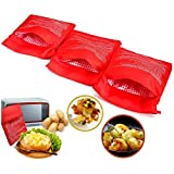 3 PCS Patata Microondas Bolsa Potato Express Pouch Lavable reutilizable Bolsa de patata de microondas Patata Express Bag Perfect Patatas Solo en 4 minutos (Rojo)