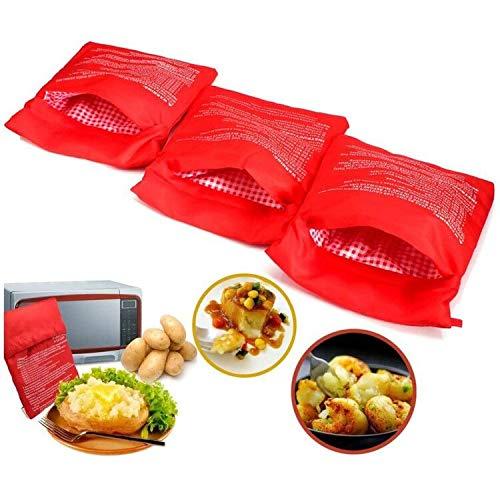 3 PCS Pomme de terre Poche à micro-ondes Pomme de terre Express Pouch Lavable Réutilisable Microwave Potato Bag Pomme de Terre Sac Express Pommes de Terre Parfaites Seulement en 4 Minutes (Rouge)