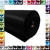 Bastelfilz 1m Meterware Filz 90cm x 3mm Dekofilz Taschenfilz Filzstoff 39 Farben, Farbe:schwarz