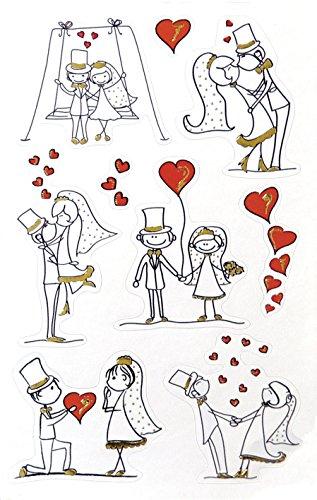 AVERY Zweckform Papier Sticker Brautpaar 9 Aufkleber weiß, schwarz, gold (Dekosticker, selbstklebend, Gastgeschenke, Einladung, Hochzeitskarte, Hochzeit, Dekorieren, Geschenke, Fotoalbum) 55181