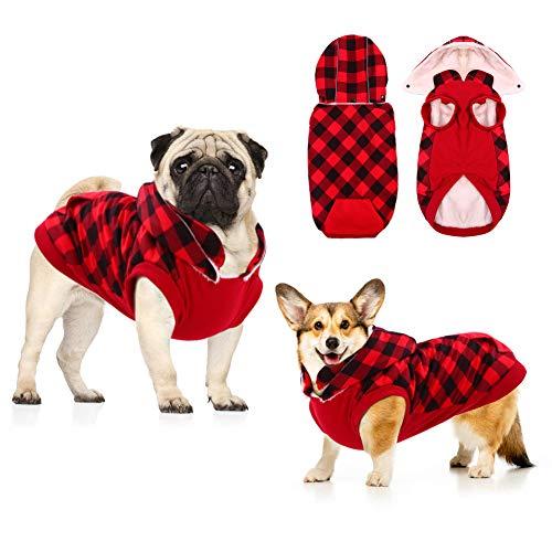 Hunde-Wintermantel aus dickem Fleece, mit abnehmbarer Mütze, warmes Outfit, winddicht, wasserdicht, warm, für kleine, mittelgroße und große Hunde