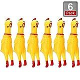 meekoo 6 Packung Gummi Schreiend Hühner Spielzeug Gelb Gummi Quietschen Hühner Spielzeug Neuheit...