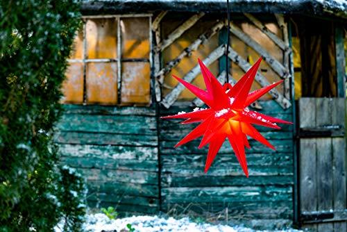 Novaliv Weihnachtsstern 3D LED Rot 55 cm 18 Zacker Kunststoffstern Dekostern Fensterdeko Weihnachtsdeko Innen Außen Stern beleuchtet