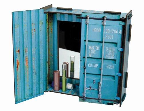 Werkhaus - Spiegelschrank Spiegel in Container-Optik, Tuerkis, 28x27x8,5cm (CO1603)
