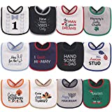 Hudson Baby Unisex Baby Cotton Terry Drooler Bibs with Fiber Filling, HOLIDAY BOY BOW TIE, One Size