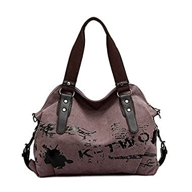 Fansela(TM) Womens Simple Cool Graffiti Canvas Handbag Crossbody Tote Bag (Dark Purple)