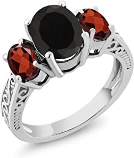 Sterling Silver Black Onyx & Red Garnet 3-Stone Women's Ring 2.73 cttw (Available 5,6,7,8,9)