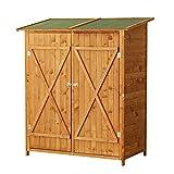 Outsunny Holz Gerätehaus Geräteschuppen Gartenschrank Geräteschrank Gartenhaus 140 x 75 x 160 cm