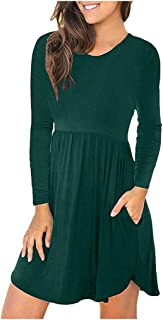 Opinionated Women's Long Sleeve Dress Pleated Loose Swing Casual Dresses with Pockets Knee Length