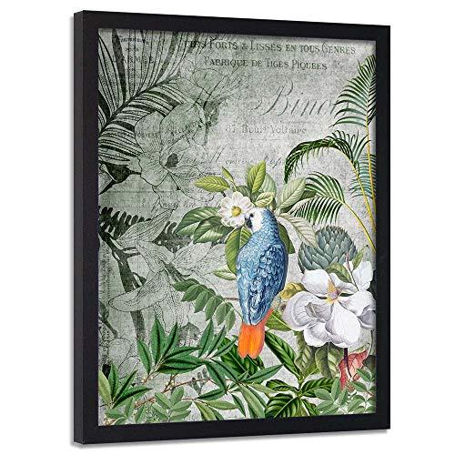 carowall CAROWALL.COM Cuadro con Marco XXL Loro Arte Moderno Abstracto Verde 70x100 cm