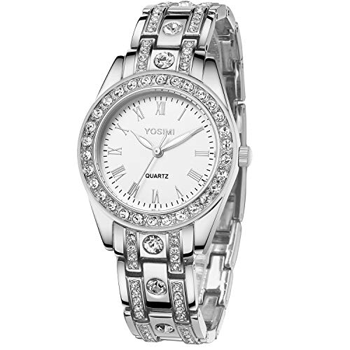 Orologio da donna impermeabile YOSIMI orologio da polso al quarzo bracciale in argento numeri romani con cristalli luminosi mani display analogico