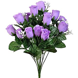 LINESS for 14 Artificial Rose Buds Bush Silk Wedding Flowers Bouquet Party Decorations Fake DIY LINESS for Wedding Flowers, Petals & Garlands Floral Décor – Color is Lavender/Lilac