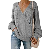 PRETTYGARDEN Women's Casual Long Sleeve Deep V Neck Wrap Pullover Sweater Cable Knit Jumper Tops (Grey, X-Large)