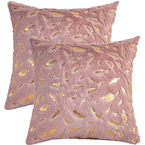 Find-In-Find Set of 2 Super Soft Square Faux Fur Throw Pillow Covers Sofa Cushion Covers Pillow Case Decorative 17 x 17 Inch (Pale Mauve Leaves)