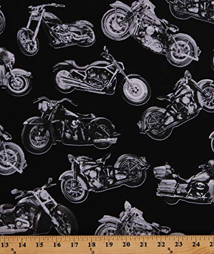 Cotton Motorcycles Vintage Classic Motorbikes Silver Tossed Bikes on Black Cotton Fabric Print by The Yard (D463.45)