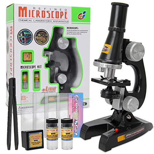 Kids Microscope, 100x, 200x and 450x Magnification Children Science Microscope Kits, Educational Microscope with LED Lights, Learning Compound Microscope Toys for Beginners Early Education