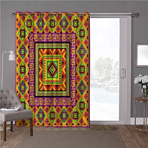 YUAZHOQI cortinas aisladas de reducción de ruido, Azteca, marco tribal indígena, W52 x L84 pulgadas persianas verticales para puerta de honda (1 panel)
