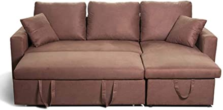 Couch Sleeper, 3 in 1 Compact Velvet Sofa Couch with Pull Out Bed and Large Storage Space, Modern Soft Loveseat Bed for Li...
