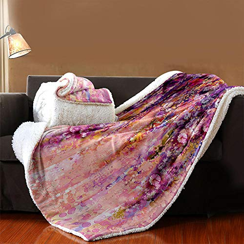 INFANDW Printed Fleece Throw Blanket for Adult Children Bed Blanket, Pink Purple Pattern Soft Blanket Wool Microfibre Blanket Velvet Board Warm Office Nap, Microfibre 53 inch x 59 inch