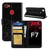 HualuBro Oppo F7 Hülle, Retro PU Leder Leather Wallet HandyHülle Tasche Schutzhülle Flip Hülle Cover mit Karten Slot für Oppo F7 Smartphone - Schwarz