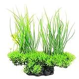Rocita Plantas artificiales de seda para acuario, decoración de acuario, decoración de hierba para pecera (verde), 1 unidad