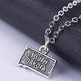 South Dakota Trendy Style Map Necklace High Quality Zinc Alloy Map Pen Pen Necklace Women Map Bijoux Cadeau