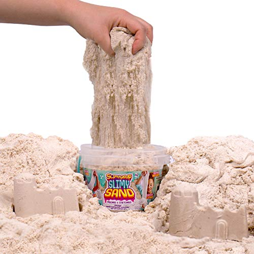 SLIMYSAND by Horizon Group USA, 1.5 Lbs of Stretchable, Expandable, Moldable Cloud Slime, Non Stick, Slimy Play in A Reusable Bucket, Sand- A Kinetic Sensory Activity