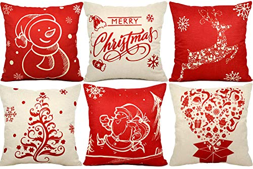 FLY2SKY 6PC Christmas Pillow Covers 18