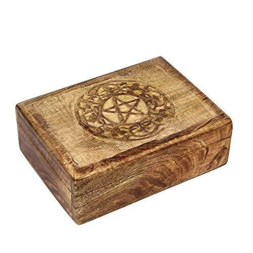 Caja de recuerdos de madera de Icrafts, con diseño de pentagrama, caja de almacenamiento, joyero, hecho a mano