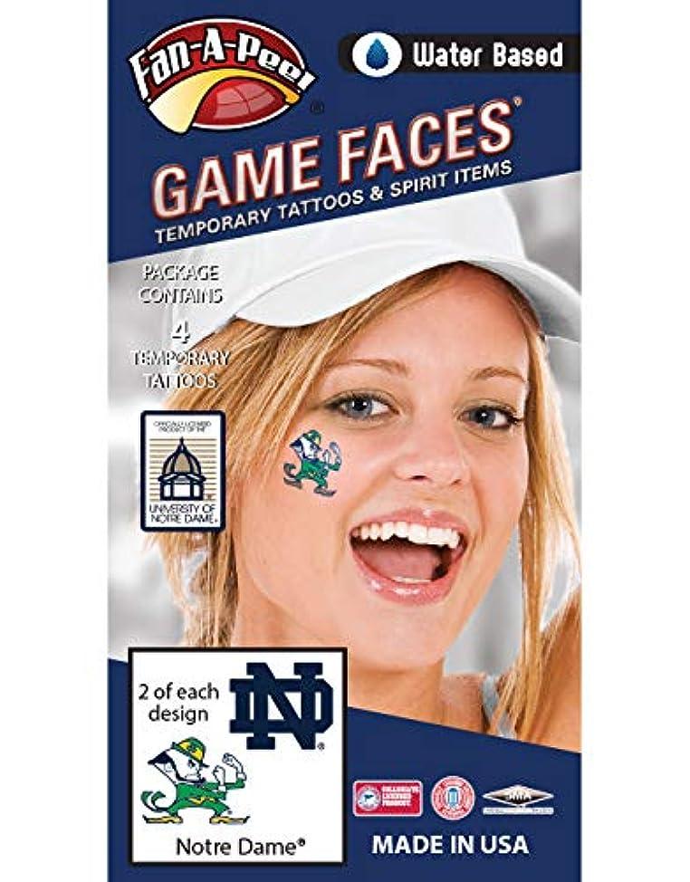 Fan A peel Notre Dame (ND) Fighting Irish – Water Based Temporary Spirit Tattoos – 4-Piece – 2 Leprechaun Logo & 2 Navy Blue ND Logo