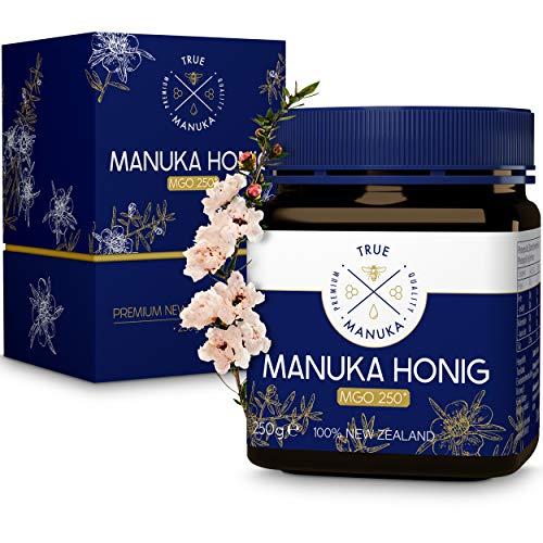 True Manuka - Manuka Honig - Zertifizierter MGO Gehalt 250+ [250g] - [VERBESSERTES KONZEPT 2021] - 100% Pur aus Neuseeland - Laborgeprüfter Honig mit exzellenter Reinheitsstufe