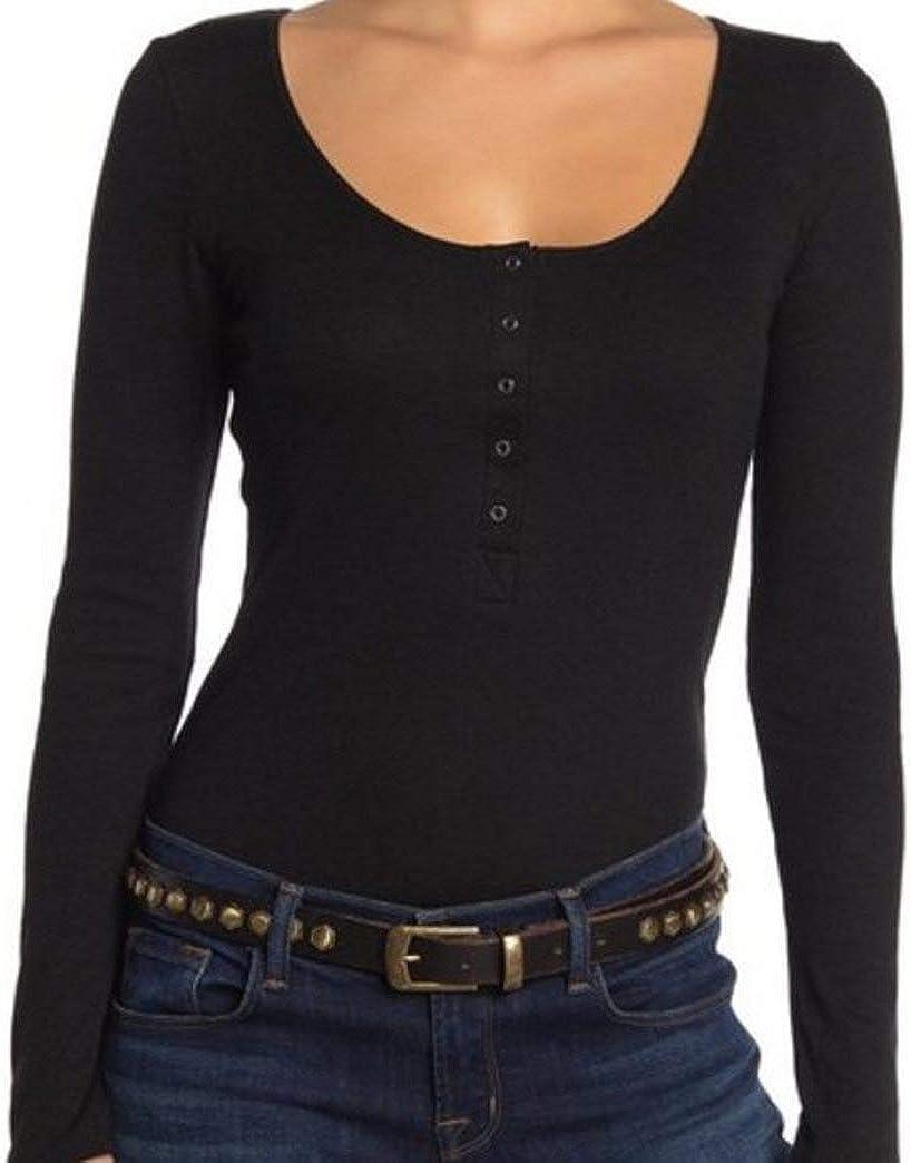 Joe's Women's Snap Button Henley Bodysuit, Black, M