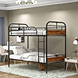 Industrial Metal Pipe Twin Over Twin Bunk Beds,Convertible Bunk Beds with Wood Headboards for Kids Adults - Industrial Water Pipe Design, Black/Brown
