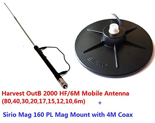 Combo: Harvest OutB2000 HF/6M Mobile Antenna Sirio Mag 160 PL Mag Mount Kit