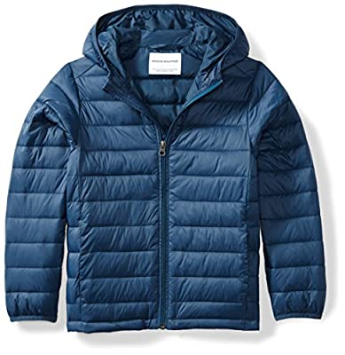 Amazon Essentials Kids Boys Light-Weight Water-Resistant Packable Hooded Puffer Jackets Coats, Navy, Small