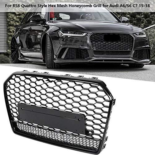 LSYBB Für RS6 Style Front Sport Sechskant Mesh Honeycomb Hood Grill für Audi A6 / S6 C7 2015-2018 Gloss Black Car Mesh