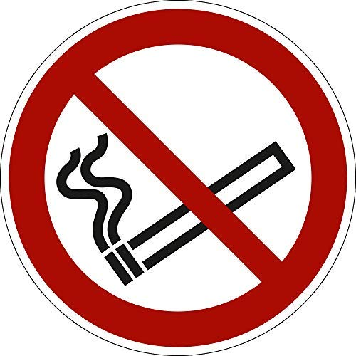 Rauchen verboten, PVC-Folie, Ø 30 mm gemäß ASR A1.3 / ISO 7010 P002, Aufkleber, Verbotszeichen, 15 Stück